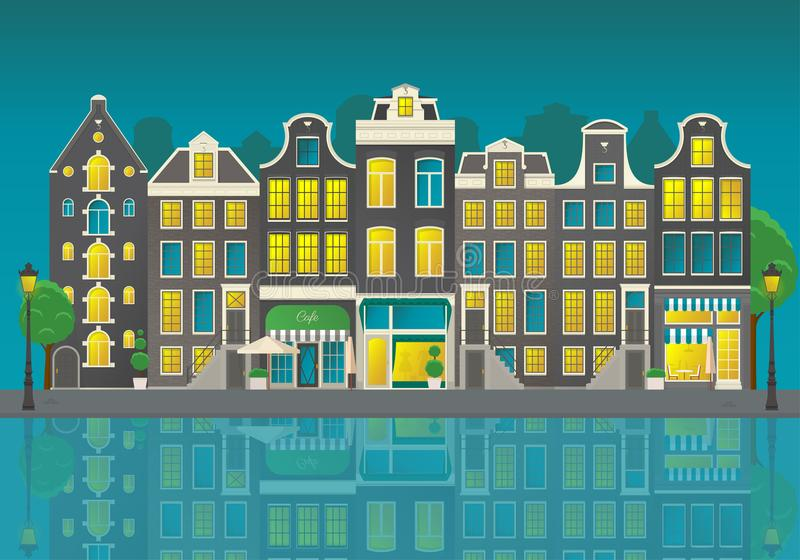 Amsterdam city street with reflections of houses in the water at night royalty free illustration