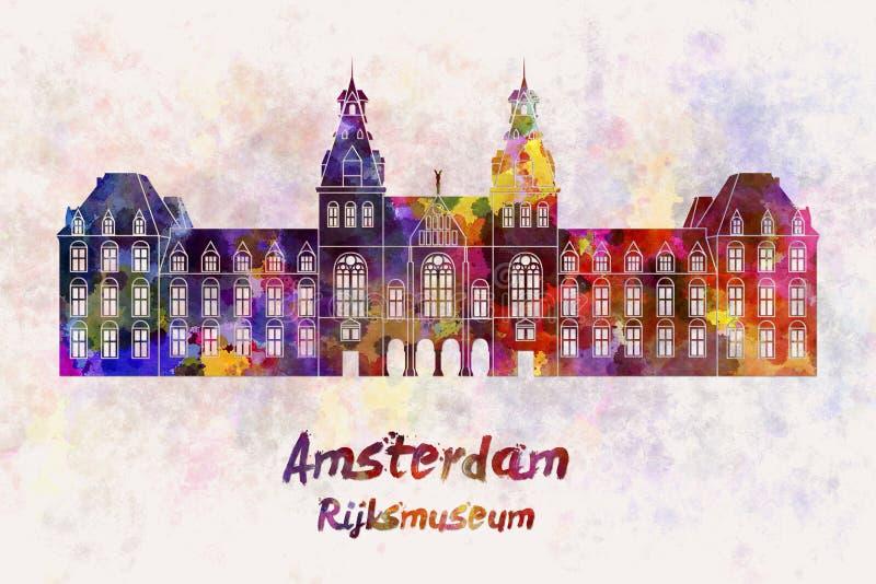 Amsterdam Rijksmuseum Landmark in watercolor. Splatters with clipping path stock illustration