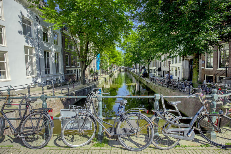 Amsterdam's canal at day time royalty free stock photography