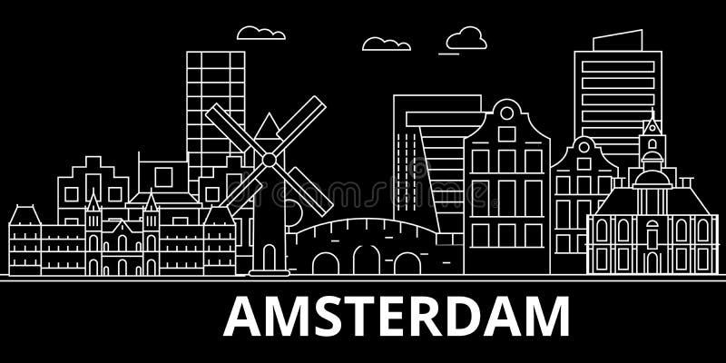 Amsterdam-Schattenbildskyline Niederlande- - Amsterdam-Vektorstadt, niederländische lineare Architektur, Gebäude amsterdam vektor abbildung