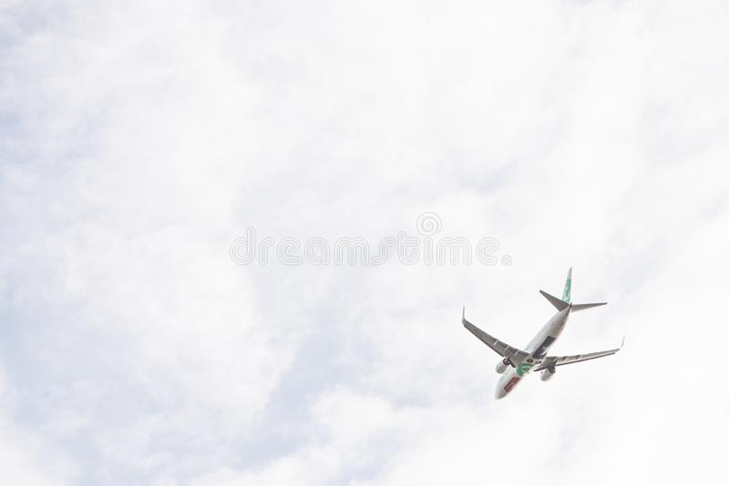 Transavia plane just to take off from the runway, Boeing 737-800, runway Aalsmeerbaan royalty free stock images