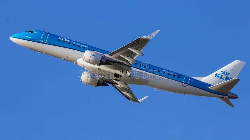 KLM Cityhopper Embraer ERJ-190 passenger plane royalty free stock photography