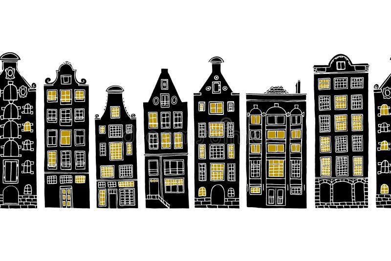 Amsterdam seamless pattern. Vector horizontal seamless pattern with hand drawn old Amsterdam houses with luminous windows royalty free illustration