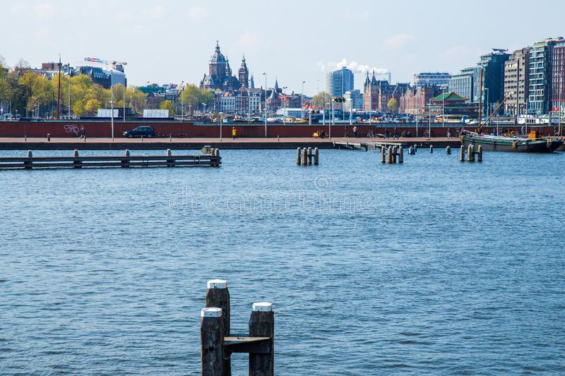 Amsterdam seen from Oosterdok, the Netherlands stock images