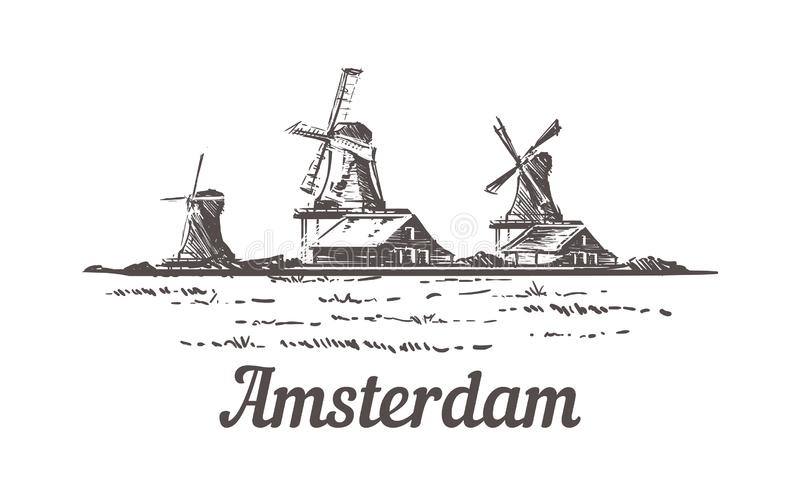 Amsterdam sketch, Zanse Schans in the open air, where a typical Dutch landscape is recreated. Mills, village houses, farm, craft workshops hand drawn vector illustration