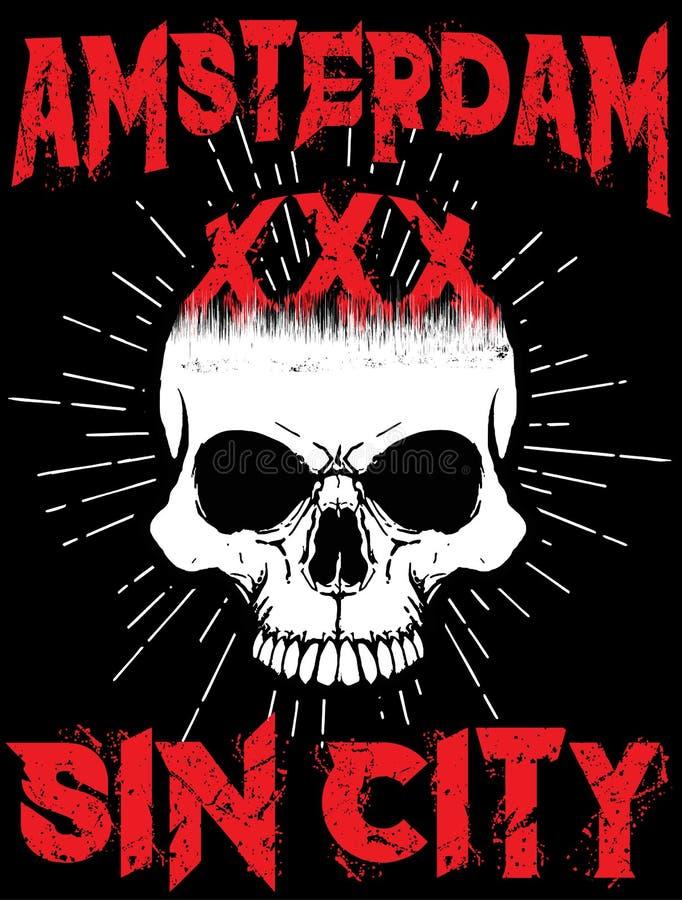 Amsterdam Skull T shirt Graphic Design. Fashion style vector illustration