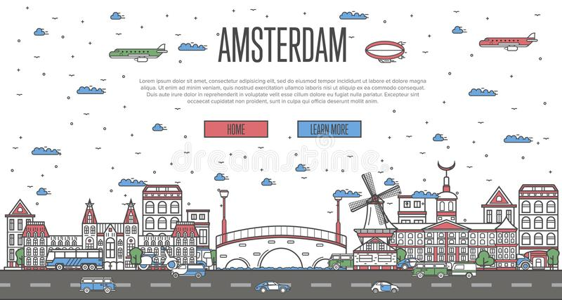 Amsterdam skyline with national famous landmarks. In linear style. Holland traveling vector concept, touristic tour advertising with Amsterdam historic stock illustration