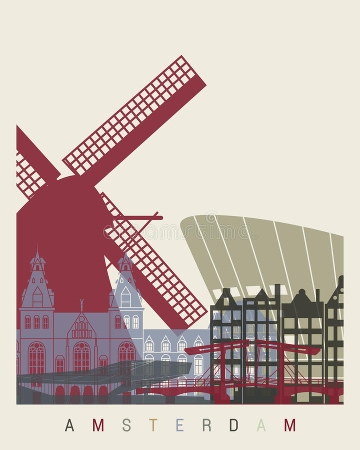 Amsterdam skyline poster vector illustration