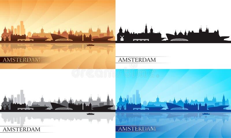 Amsterdam skyline silhouettes set royalty free illustration