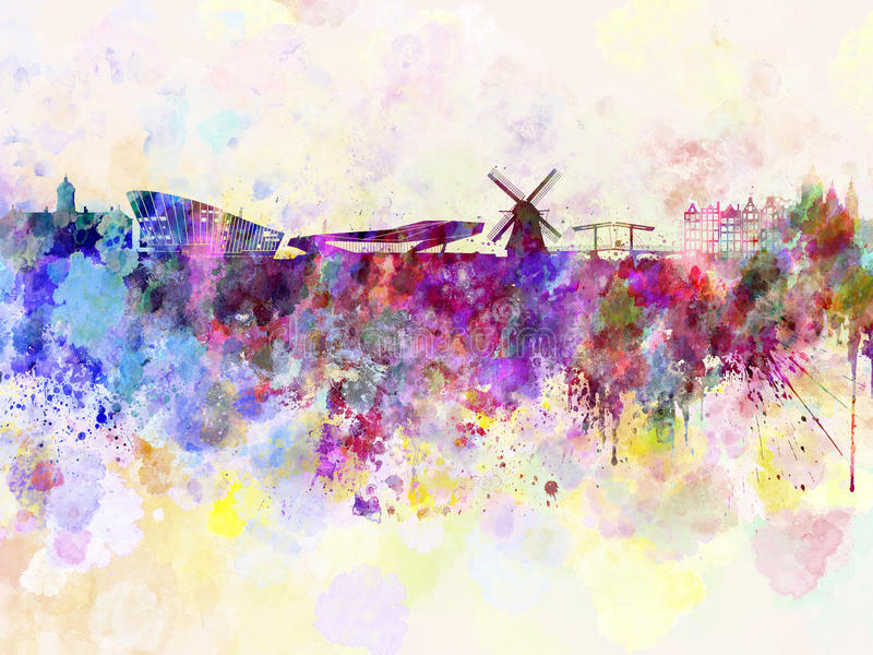 Amsterdam skyline in watercolor background. Amsterdam skyline in watercolor abstract background stock illustration