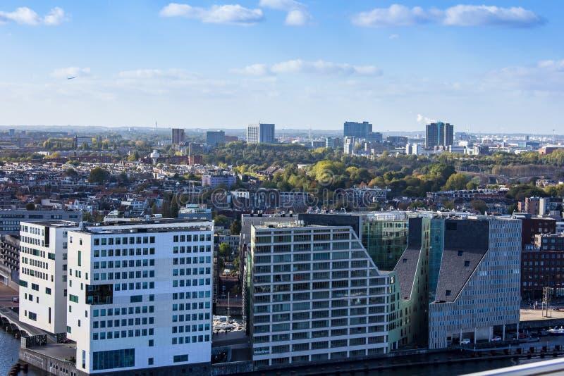 Amsterdam som ses från Adam Lookout Tower fotografering för bildbyråer