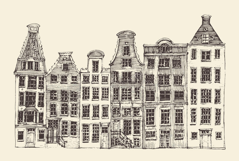 Amsterdam stadsarkitektur, tappning inristade illustrationen royaltyfri illustrationer