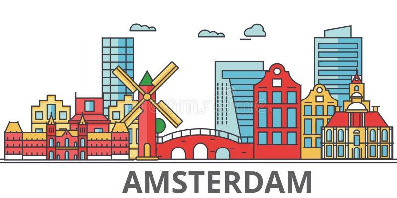 Amsterdam stadshorisont stock illustrationer