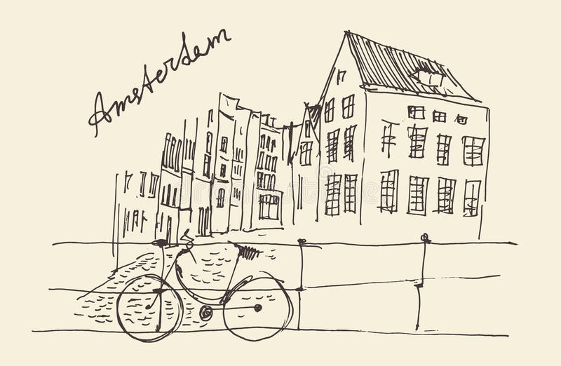 Amsterdam, Stadtarchitektur, Weinlese gravierte Illustration stock abbildung