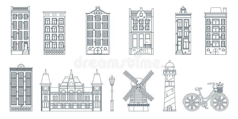 Amsterdam-StadtBaulinie schwarze weiße lokalisierte Ikonen der Kunst Auch im corel abgehobenen Betrag Reise zu die Niederlande-Ge stock abbildung