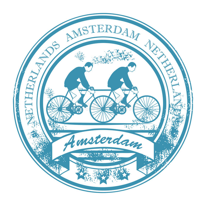 Amsterdam stamp. Grunge rubber stamp with bicycle and the words Amsterdam, Netherlands inside royalty free illustration
