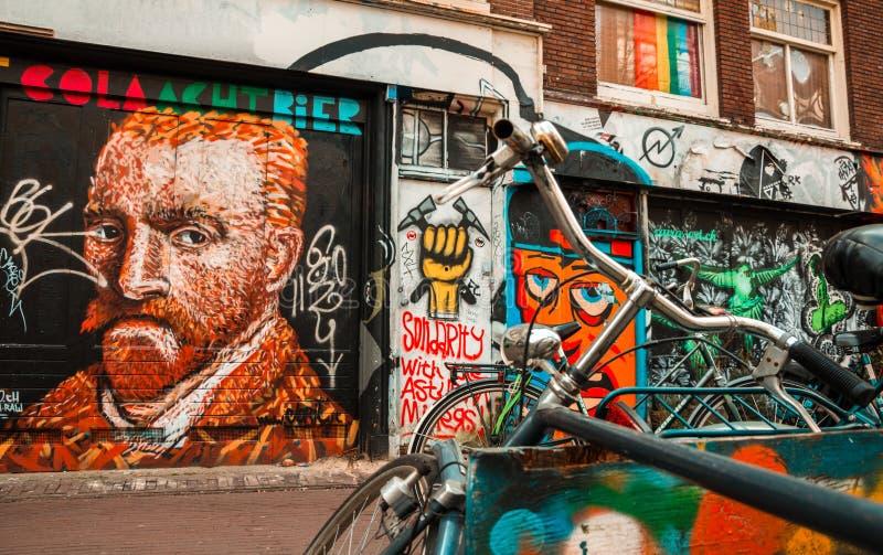 Amsterdam street art - icons stock photos