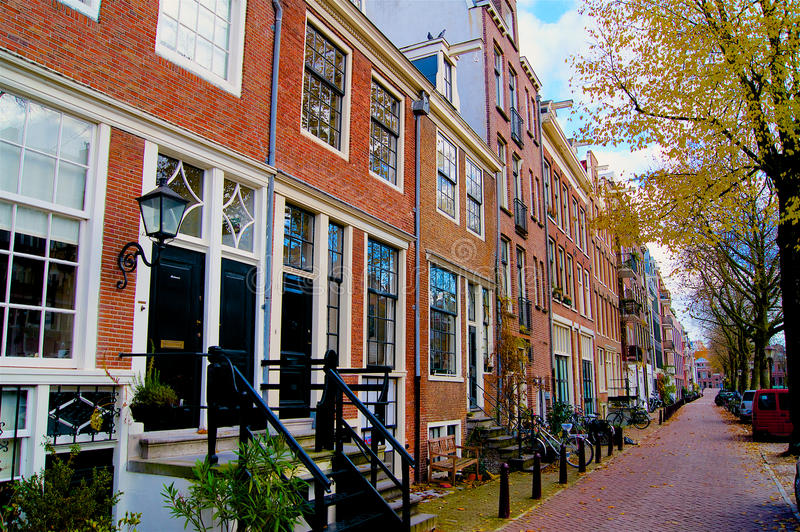 Amsterdam street in autumn Netherlands. Europe stock image
