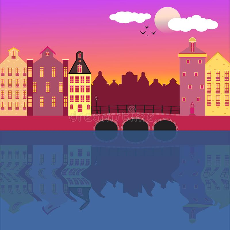 Amsterdam street facades cartoon vector illustration vector illustration