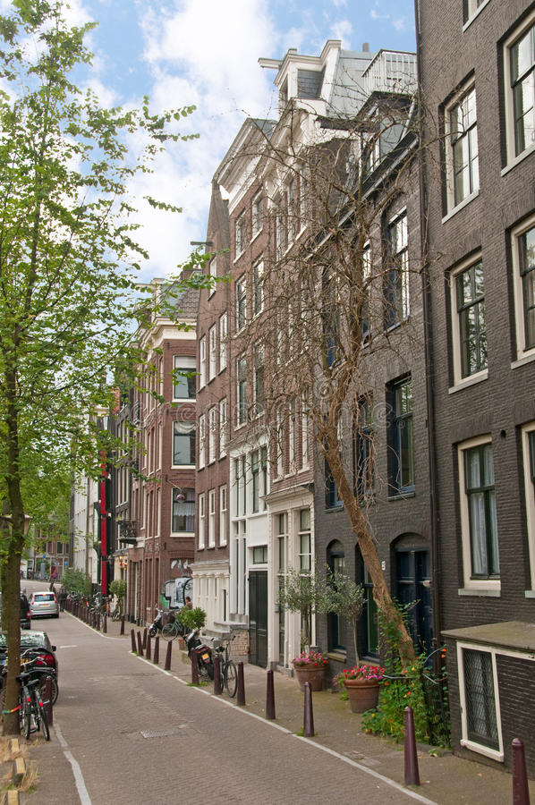 Amsterdam street with historical buildings stock image