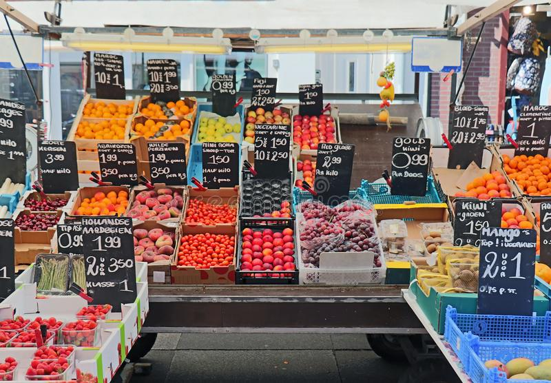 Fresh fruits market stall royalty free stock photography