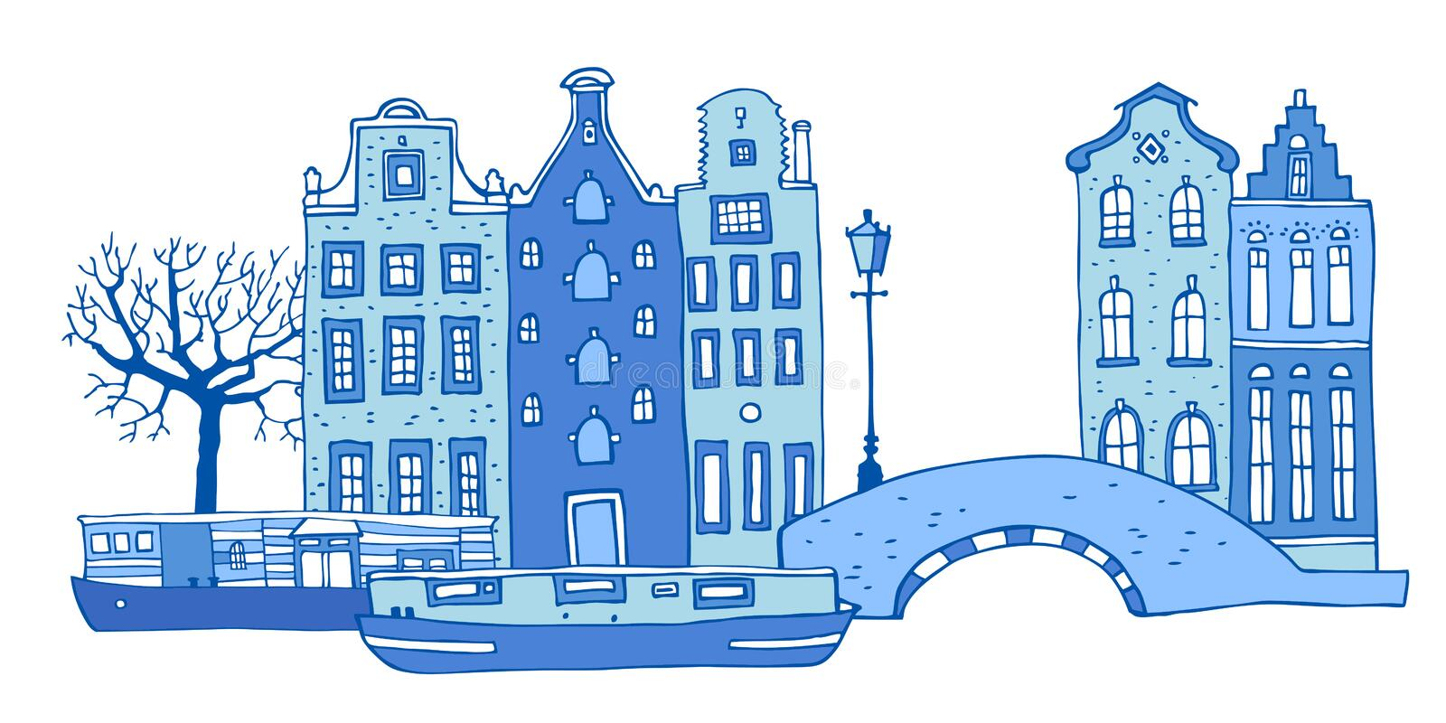 Amsterdam street scene. Vector outline sketch hand drawn illustration. Houses with bridge, lantern, trees and boats. In colors of blue porcelain paints isolated vector illustration