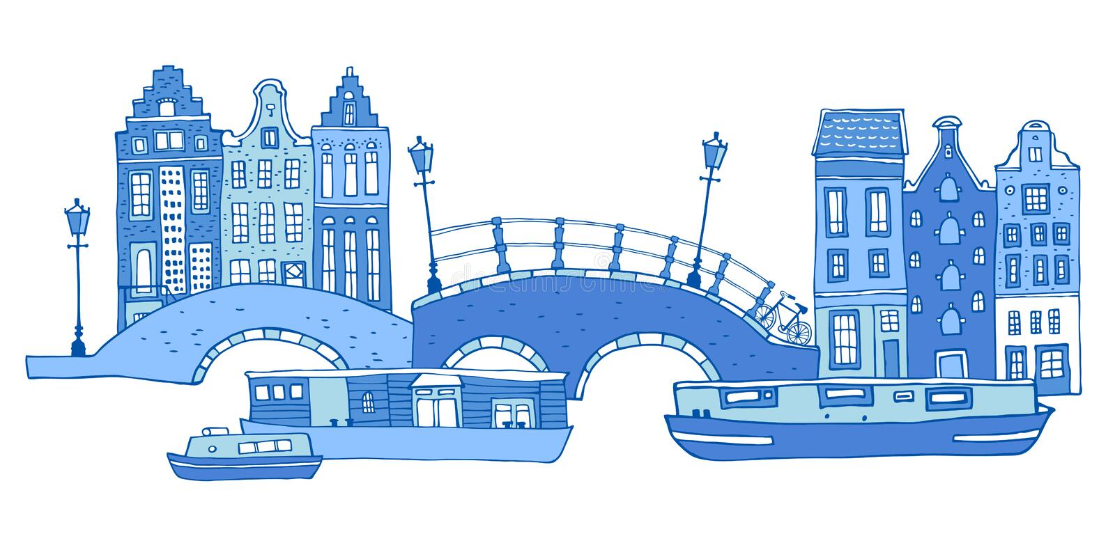 Amsterdam street scene. Vector outline sketch hand drawn illustration. Houses with bridges, lanterns and boats stock illustration