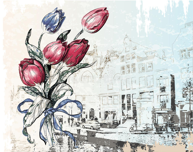 Amsterdam street and tulips stock illustration
