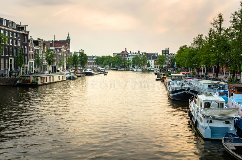 Amsterdam at Sunset royalty free stock photography