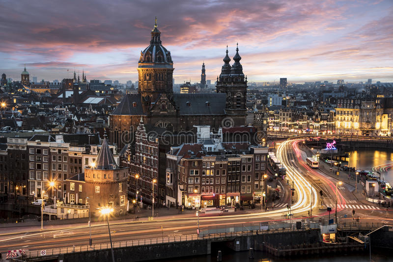 Amsterdam cityscape sunset royalty free stock image