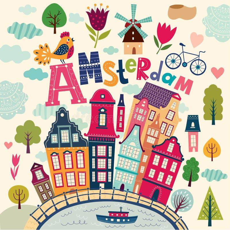 Amsterdam symbols. Vector illustration with cartoon Amsterdam symbols stock illustration