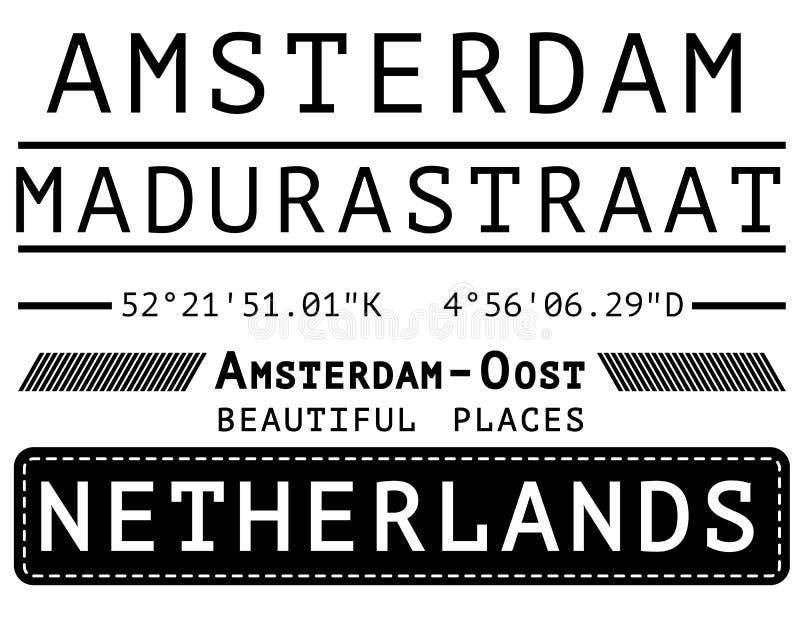 Amsterdam t shirt poster design. Fashion style stock illustration