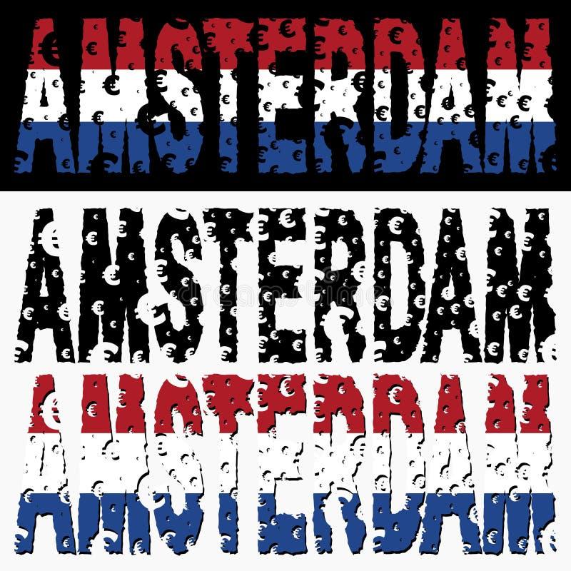 Amsterdam text euro grunge. With Dutch flag illustration stock illustration