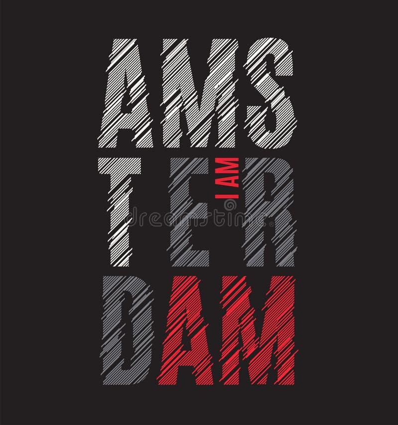 Amsterdam trójnika druk Koszulka projekta grafika znaczka etykietki typogra ilustracja wektor
