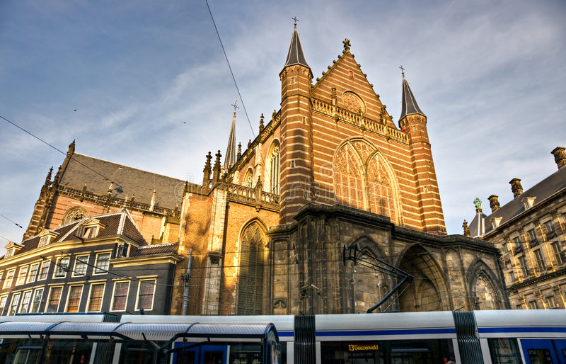 Amsterdam, Tram and Church, Dam Square