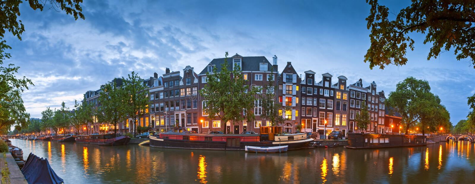 Amsterdam tranquil canal scene, Holland stock images