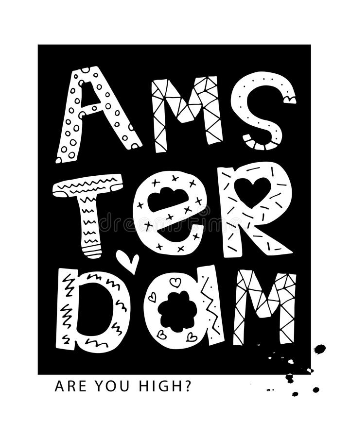 Amsterdam typography t shirt graphics vector print design. Amsterdam typography t-shirt graphics slogan tee textile print vector design royalty free illustration