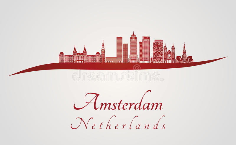 Amsterdam V2 skyline in red. And gray background in editable vector file vector illustration
