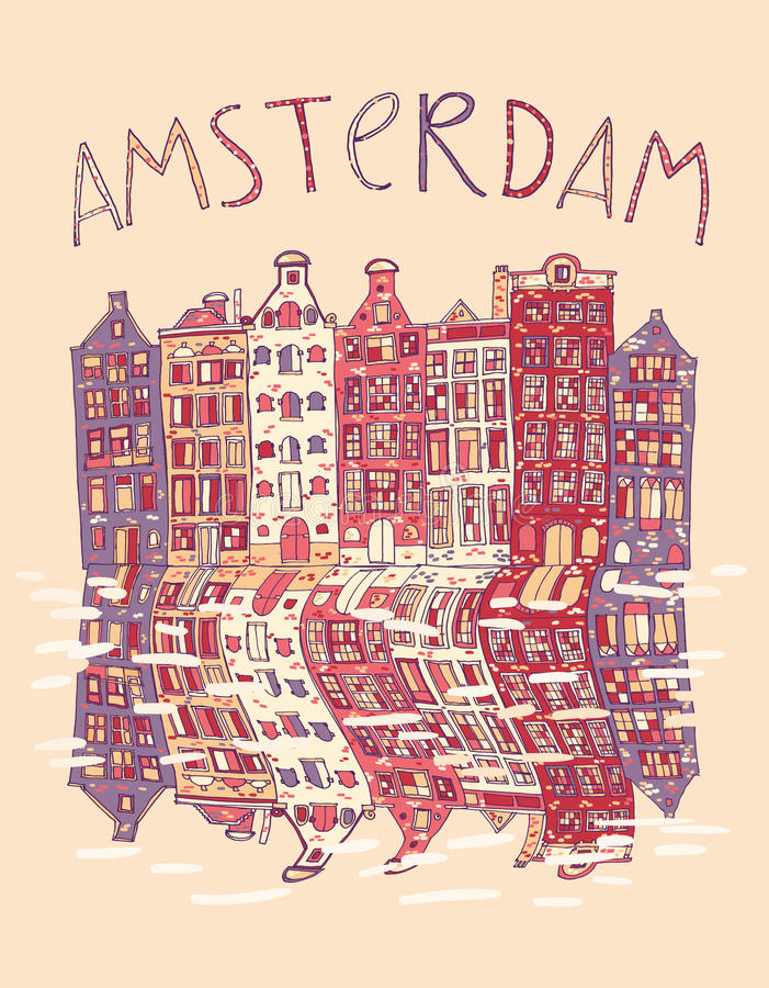 Amsterdam, vector card. Amsterdam, vector hand drawn illustration. Travel , Europe vector illustration