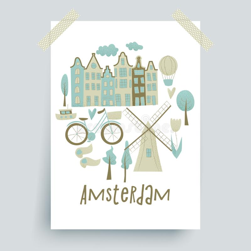 Amsterdam vector design. With houses, windmill, tulip and hot air balloon royalty free illustration