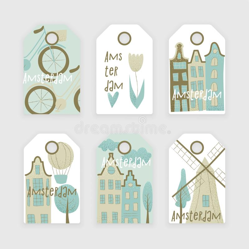 Amsterdam vector design. With houses, windmill, tulip and hot air balloon vector illustration
