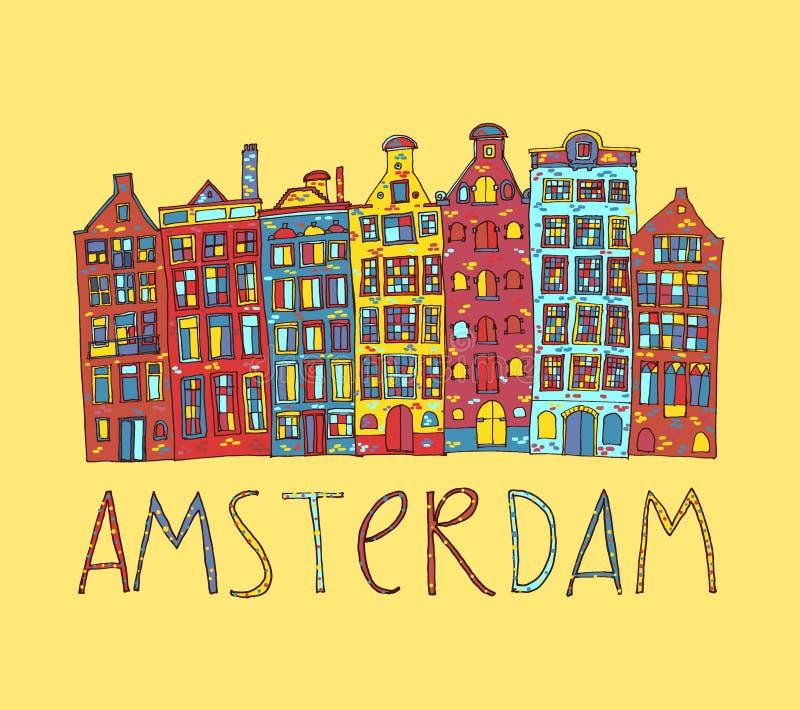 Amsterdam, Vektorkarte stock abbildung