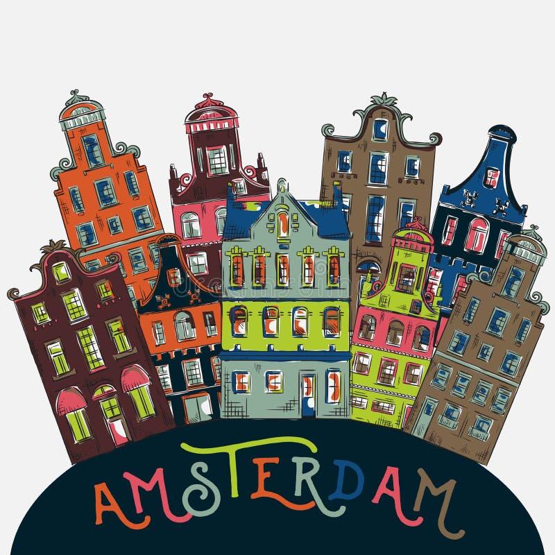 amsterdam Vieux bâtiments historiques et architecture traditionnelle des Pays-Bas illustration stock