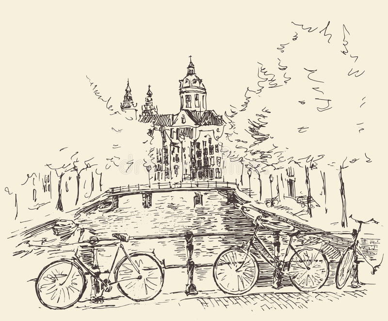 Amsterdam Vintage Engraved Illustration Hand Drawn vector illustration