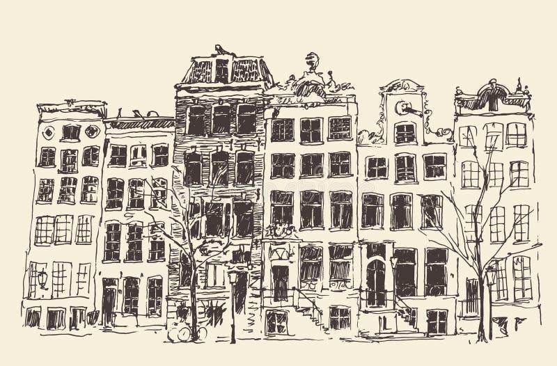Amsterdam Vintage Engraved Illustration Hand Drawn royalty free illustration