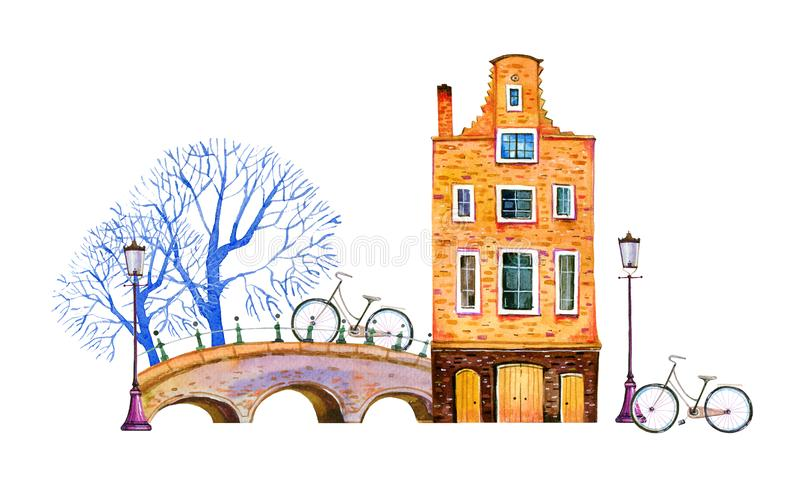 Amsterdam watercolor hand drawn illustration. House with bridge, lanterns, trees and bicycles. Isolated on white background stock illustration