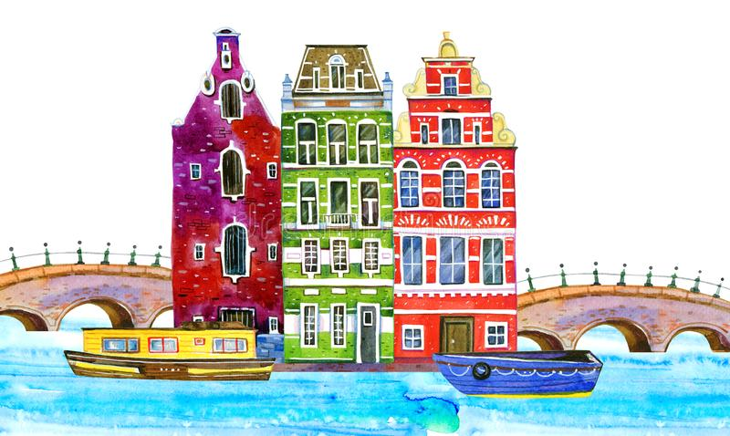Amsterdam watercolor hand drawn illustration. Houses, bridges and boats. With river vector illustration
