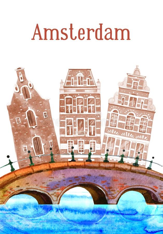 Amsterdam watercolor hand drawn illustration. Houses, bridges and river. Isolated on white backgroundn stock illustration