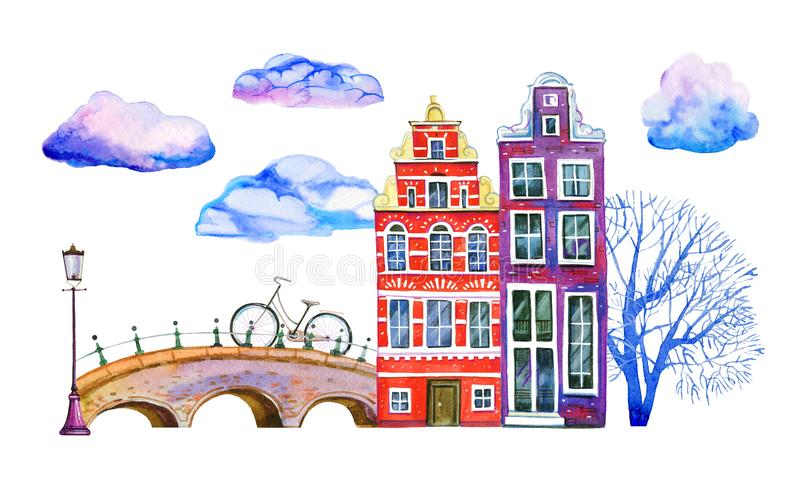 Amsterdam watercolor hand drawn illustration. Two houses with bridge, lantern, trees, clouds and bicycle. Isolated on white background royalty free illustration