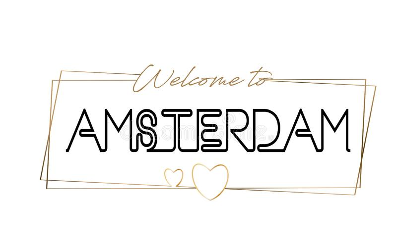 Amsterdam  Welcome to text Neon lettering typography. Word for logotype, badge, icon, postcard, logo, banner Vector Illustration. Amsterdam Welcome to text Neon vector illustration